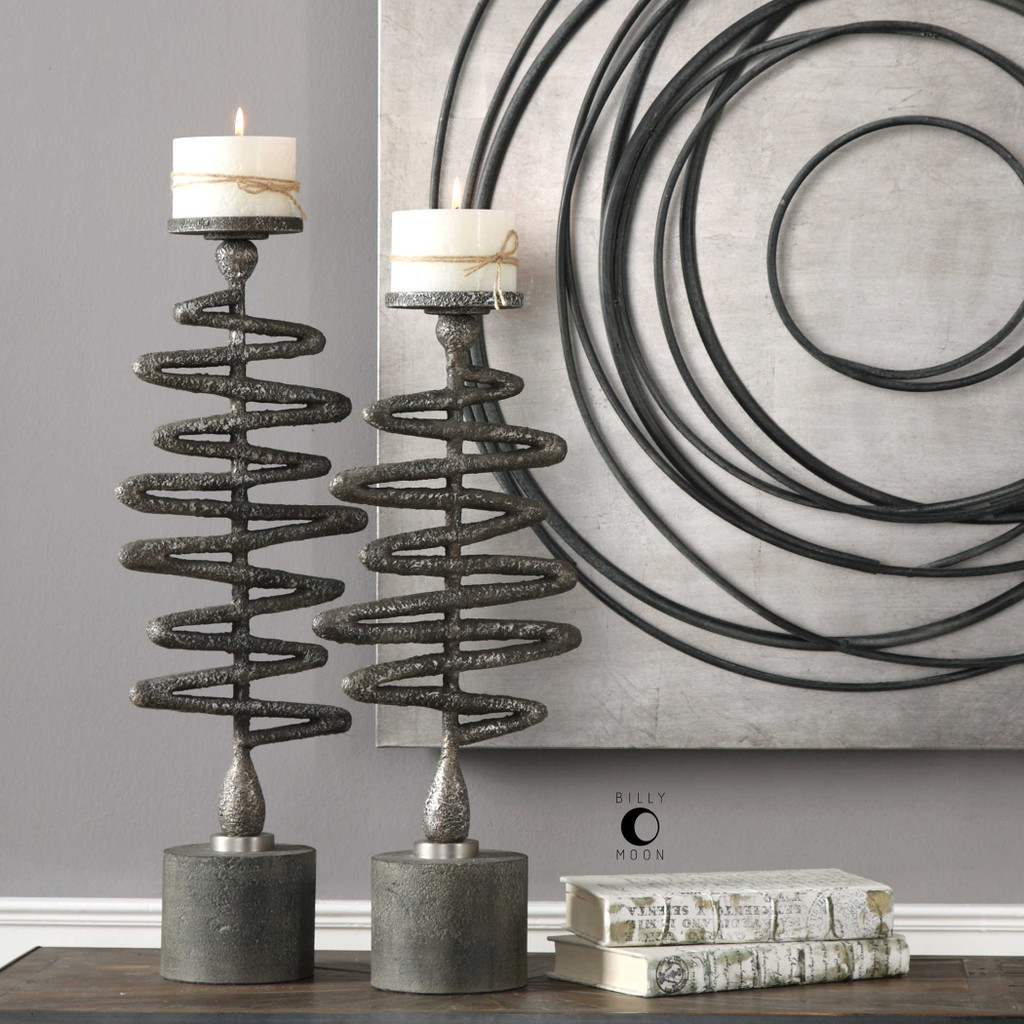 Zigzag Candleholders S/2 by Uttermost