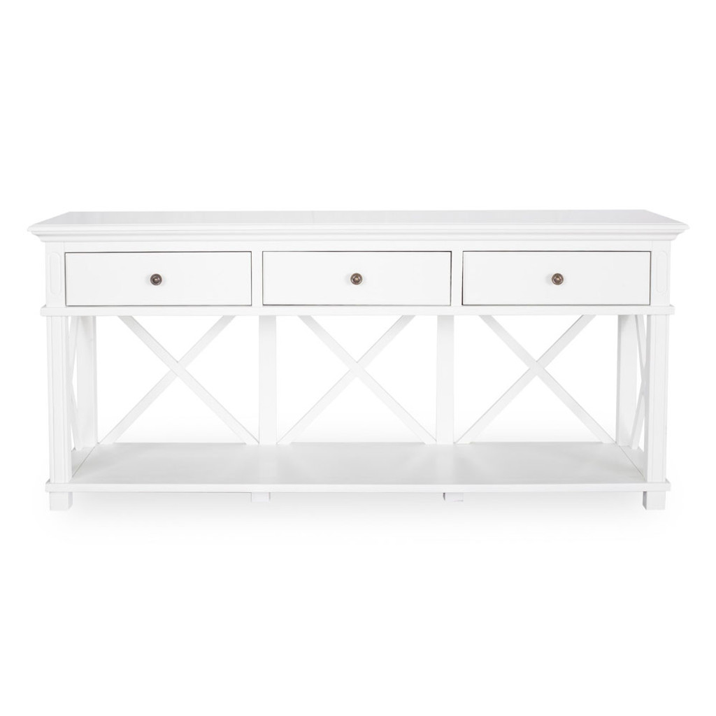 Hamptons Cross Sorrento Console Table 3 Drawer - White