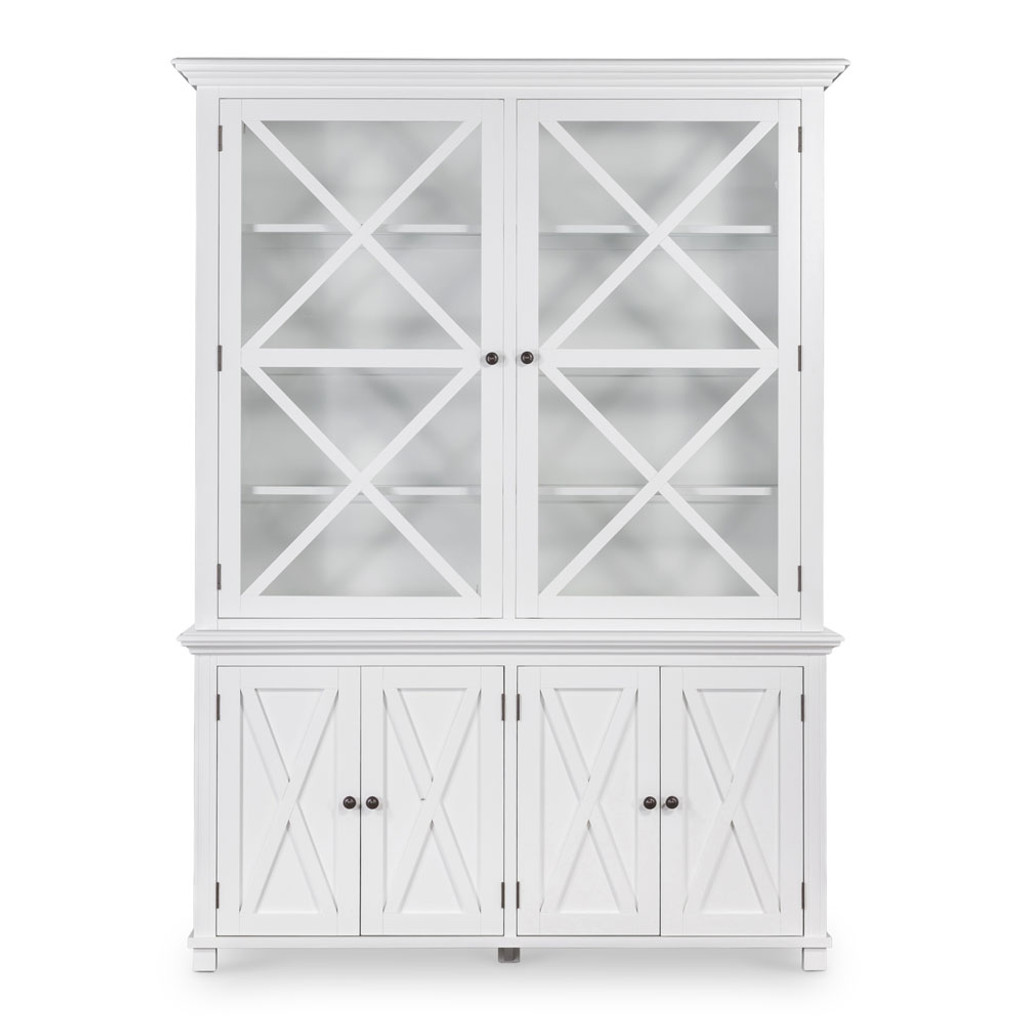 Hamptons Cross Sorrento Display Cabinet 2 Door - White