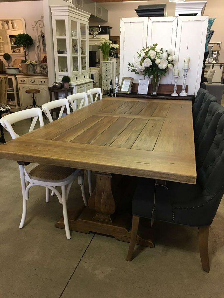 Provincial Trestle Dining Table 240cm - Size: 76H x 244W x 102D (cm)