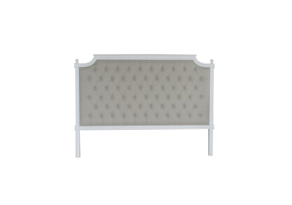 Francesca Tufted King Headboard - Natural Linen/Matt White