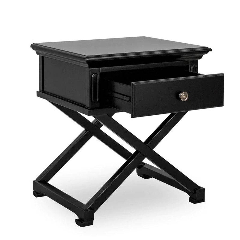 Hamptons Cross Side Table - Black  - 65H x 60W x 50D (cm)