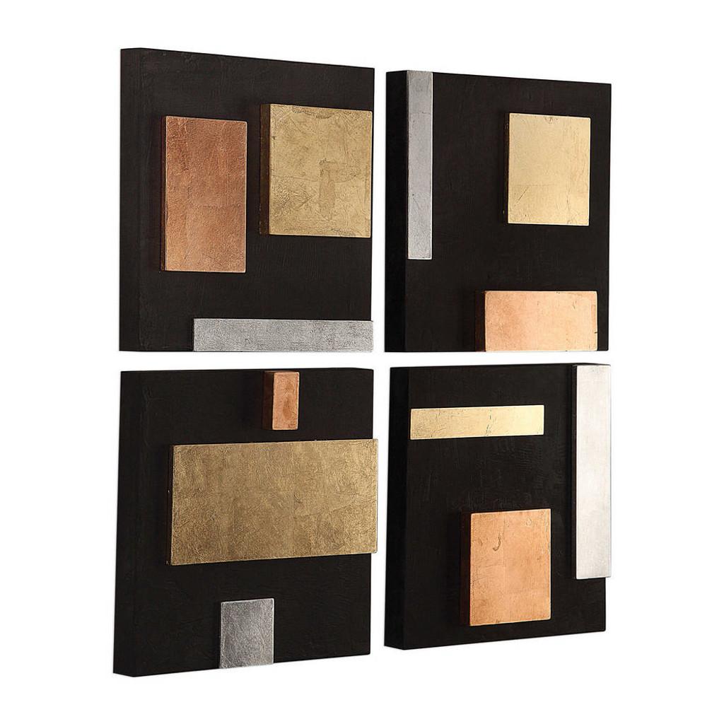 Mixed Metals Wood Wall Decor S/4
