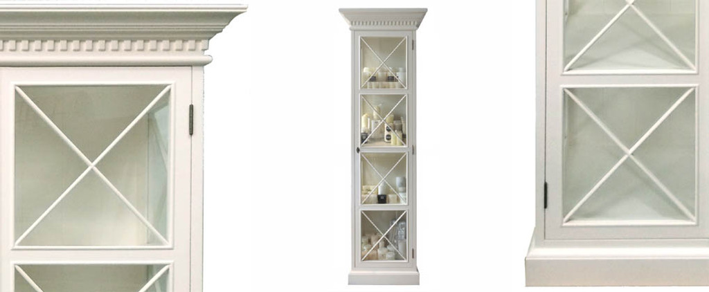 French Cross Display Cabinet - Narrow