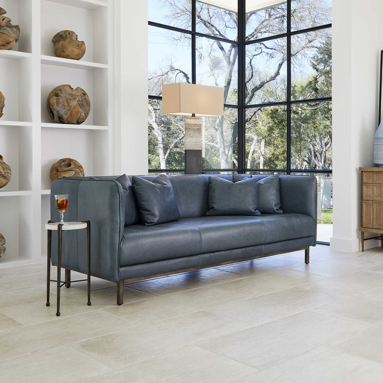 Tindra Leather Sofa By Uttermost Maison Living
