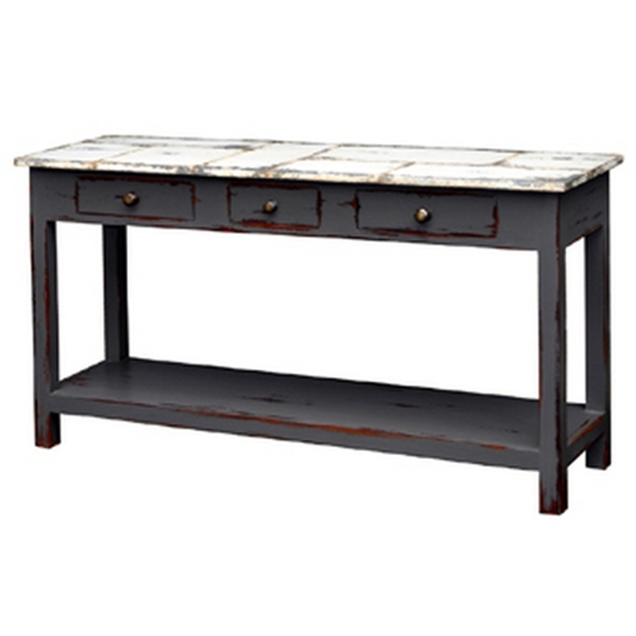 Tinsmith Sofa Table Slate Heavy Distressed Taw