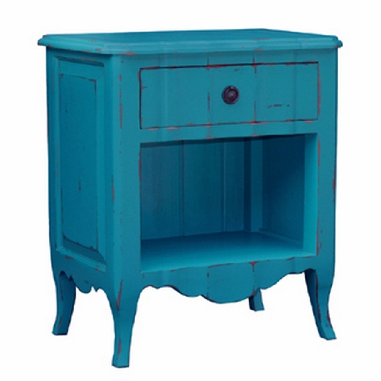 Monaco Open Bedside Cabinet Marine Blue Heavy Distressed