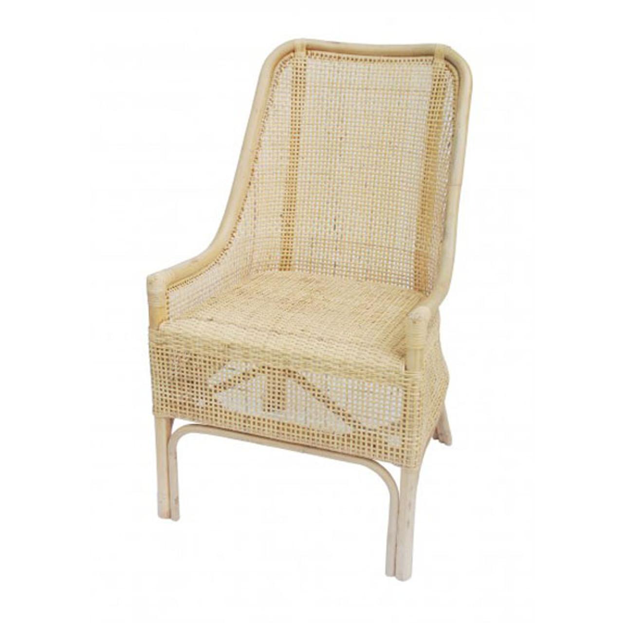 Palm Beach Rattan Dining Chair Whitewash Maison Living