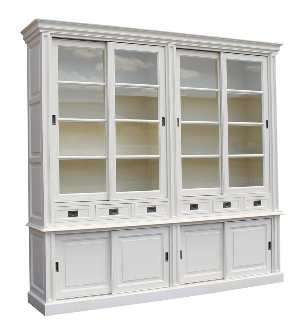 Classic 4 Door Dresser Slide Door Antique White