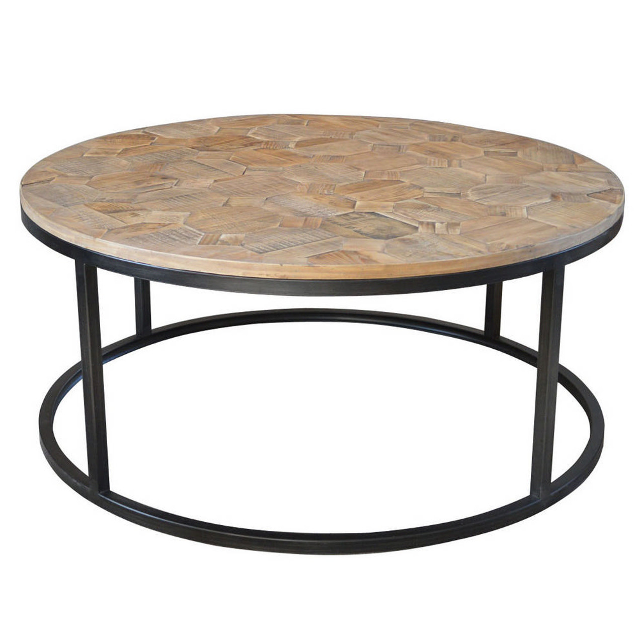 Picture of: Wisconsin Round Coffee Table Parquet Top Maison Living