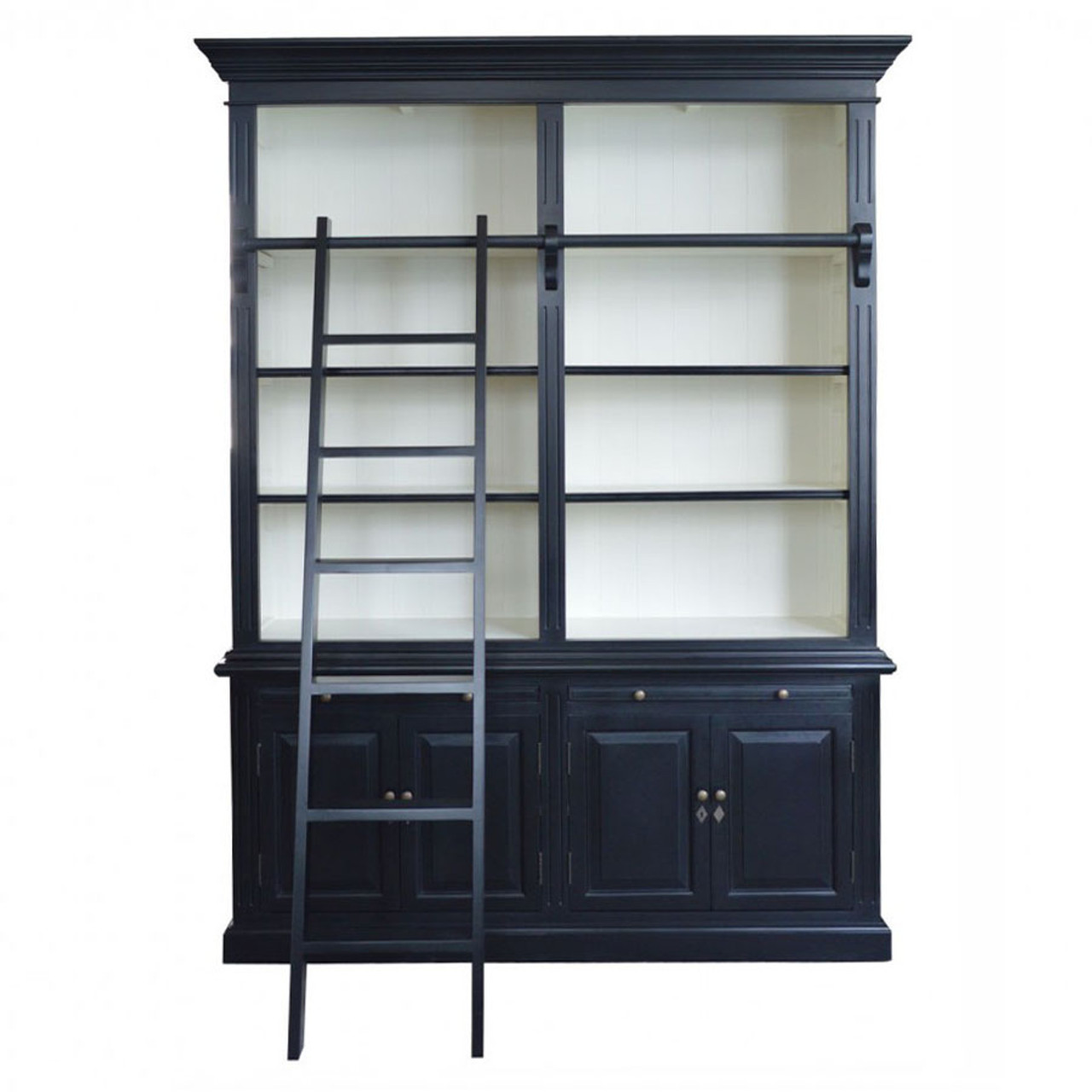 Harrington 2 Bay Library Bookcase Black White