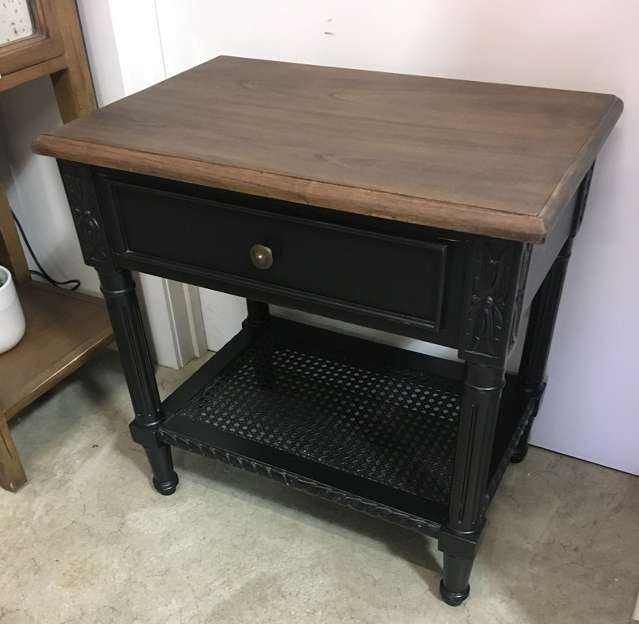 Polo Side Table Black With Wooden Top Last One