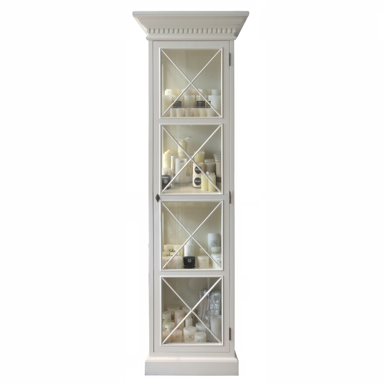 French Cross Display Cabinet 1 Door Antique White French