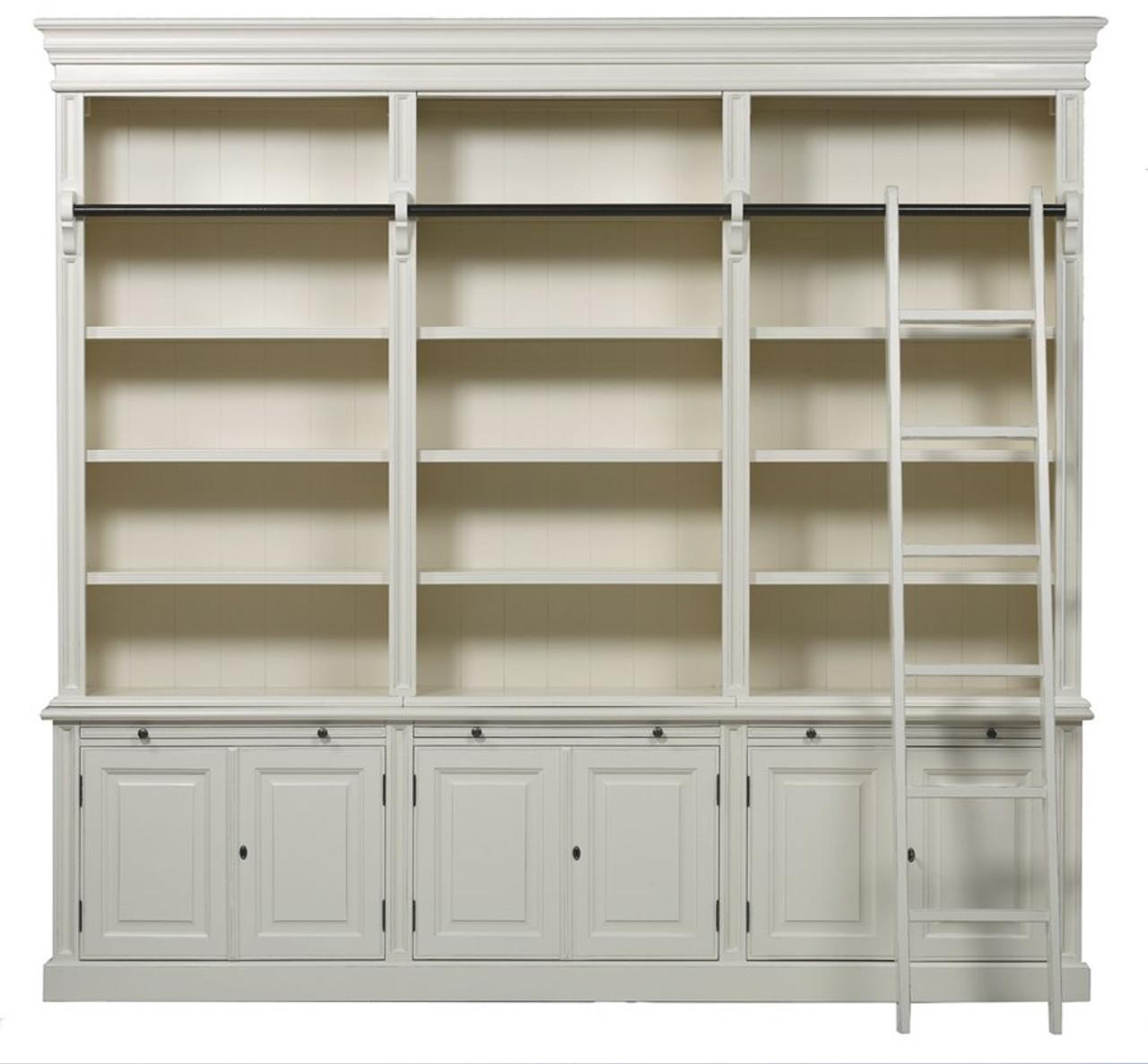 Classic 6 Door Bookcase Ladder Antique White