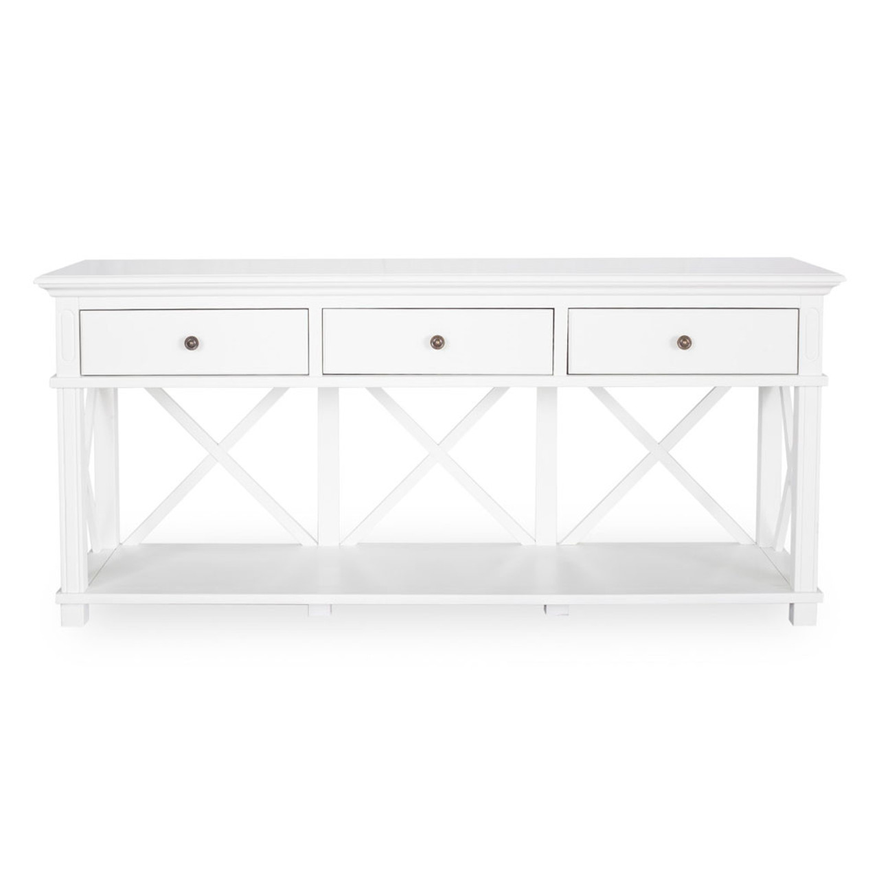 Hamptons Cross Console Table 3 Drawer White