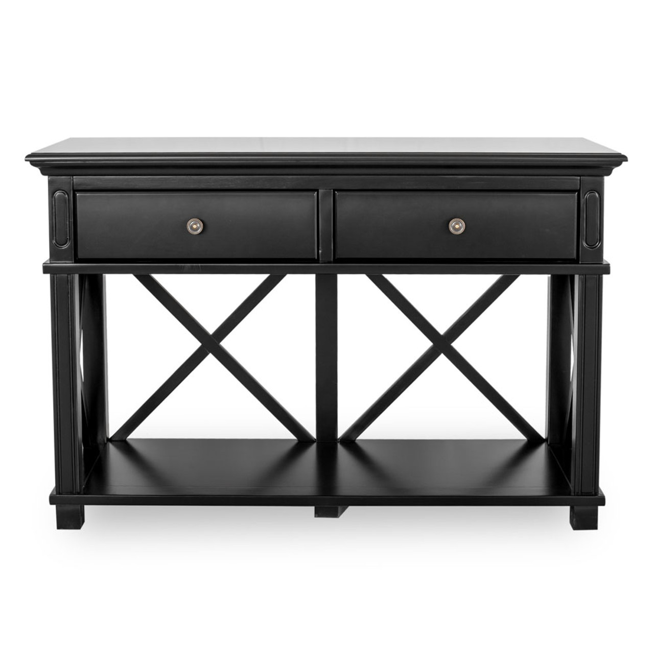 Hamptons Cross Console Table 2 Drawer Black