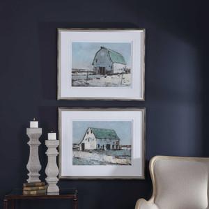 Plein Air Barns Framed Prints S/2 by Uttermost