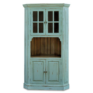 Cape Cod Corner Cabinet - Cadet Blue, Antique Oak (Inside) - Size: 213H x 119W x 56D (cm)