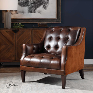 Perrette Leather Accent Chair - by Uttermost