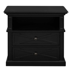 Hamptons Cross Sorrento Bedside 2 Drawer Large - Black
