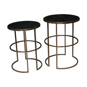Black Marble & Brass Side Tables Set/2 by Maison Living
