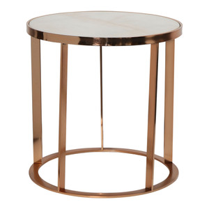 Round Rose Gold Table White Marble Top by Maison Living