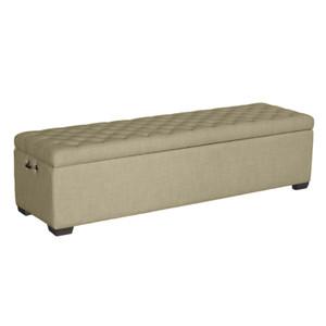Queen Beige Linen Bed Box by Maison Living