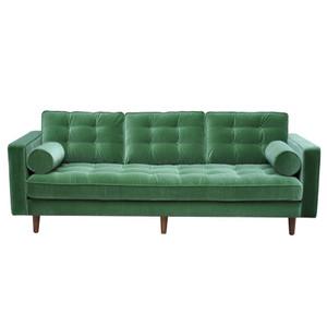 Evita 3 Seat Sofa - Green Velour by Maison Living