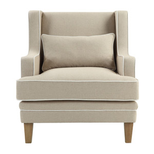 Byron Armchair Natural Linen w/ White Piping by Maison Living
