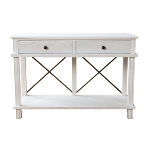 Aix 2 Drawer Console Table - White by Maison Living