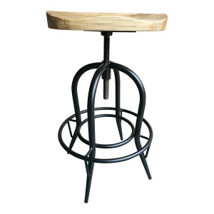 Sculpted Elm Wood Swivel Barstool - Natural by Maison Living