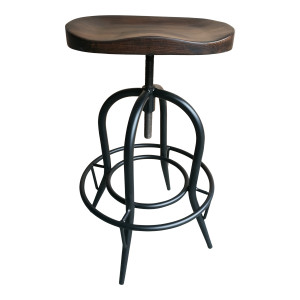 Sculpted Elm Wood Swivel Barstool - Dark by Maison Living