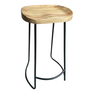 Sculpted Elm Wood Fixed Barstool - Natural by Maison Living