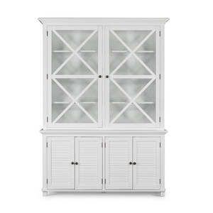 Hamptons Shutter Glass Door Cabinet Wht Grain by Maison Living