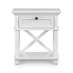 Hamptons Shutter Bedside Table White Grain by Maison Living