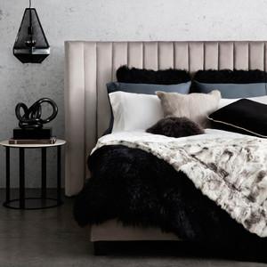 Manhattan Velour Velvet Designer King Bed - Light Grey