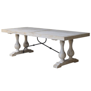 Seville Parquet Dining Table 240cm -Whitewash