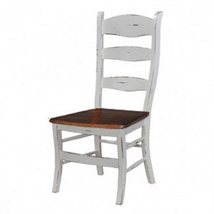 Ladder Back Dining Chair w/wood seat - Size: 110H x 50W x 57D (cm)