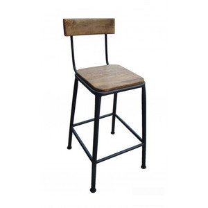 Industrial Breakfast Stool with Back - Black