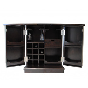 Manhattan Folding Wine Bar Cabinet - Open