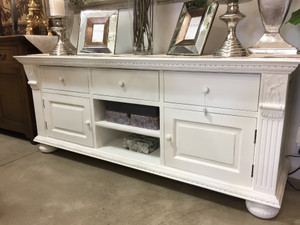 Charleston TV Stand - Architectural White Light Distressed - Size: 76H x 183W x 57D (cm)