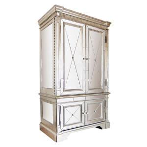 Antique Mirrored Armoire / TV Cabinet - Size: 221H x 127W x 69D (cm)