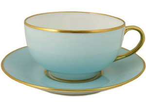 Limoges Legle Breakfast Cup & Saucer - Pastel Blue