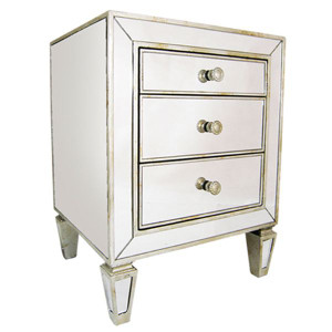 Art Deco Mirror 3 Drawer Bedside - Size: 66H x 50W x 45D (cm)