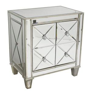 Diamonte Mirror Bedside - Size: 68H x 61W x 41D (cm)