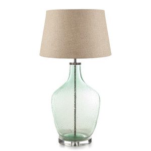 Large Fortuna Green Glass Table Lamp Large