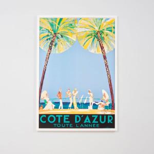 Framed Print: Cote D'Azur Vintage Poster
