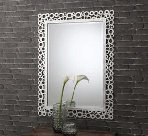 "Amalfi Rectangle Mirror Silver 44x32"" Gallery Direct"