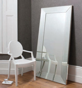 "Ferrara Leaner Mirror Silver 72x36"""" Gallery Direct"""""