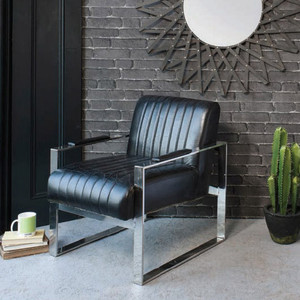 "Torino Armchair Black Leather 23.5x29x27.5"" Gallery Direct"